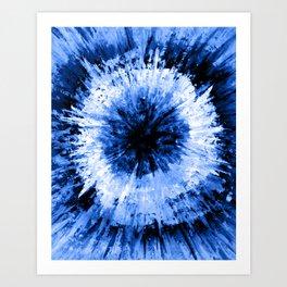 Blue Black Tie Dye // Painted Multi Media Textured Acrylic Canvas Painting Art Print