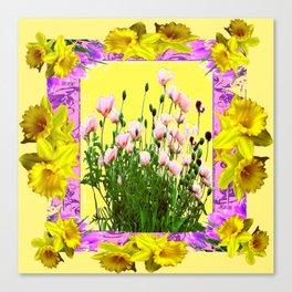 YELLOW DAFFODILS FLOWER GARDEN & PINK POPPIES DESIGN Canvas Print
