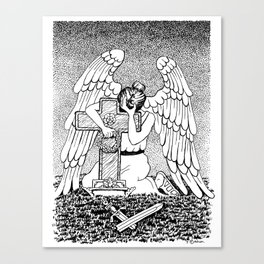 Weeping Angel at Grave Black And White Ink Drawing Canvas Print