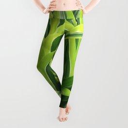 Exotic Lush Green Leaves Leggings