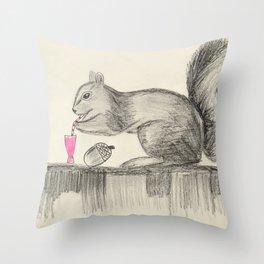 Drunk Squirrel Throw Pillow