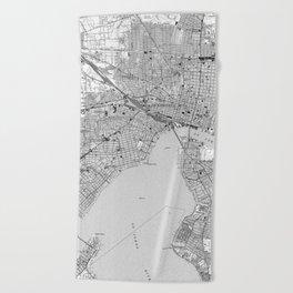Vintage Map of Jacksonville Florida (1950) BW Beach Towel