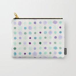 Aqua & Violet Watercolor Dots Carry-All Pouch