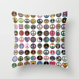 PEACE PATCH COLLECTION (white) Throw Pillow