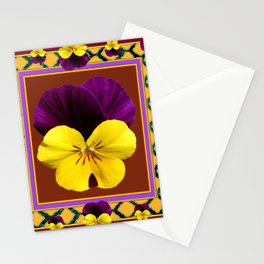 MAROON PURPLE & YELLOW SPRING PANSIES  GARDEN Stationery Cards