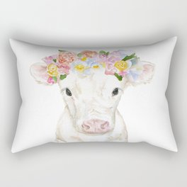 White Calf with Floral Crown Rectangular Pillow