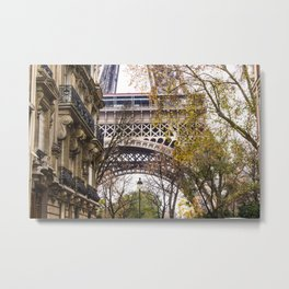 Eiffel Tower in Between Buildings Metal Print