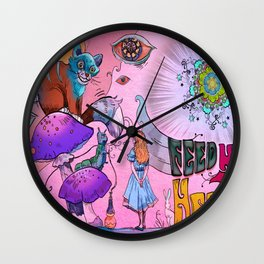 Psychedelic - Alice in Wonderland Wall Clock