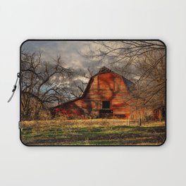 Red Barn - Rustic Barn in Shadows on Fall Day in Oklahoma Laptop Sleeve