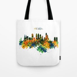 Philadelphia Watercolor Skyline Tote Bag