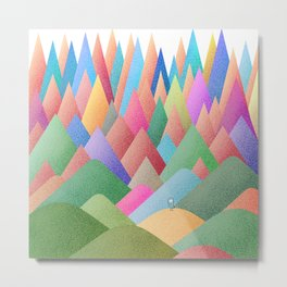 041 Owly climbing succulent mountain pattern Metal Print