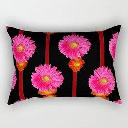 Fuchsia Gerber Daisy Flowers & Black Patterns Rectangular Pillow