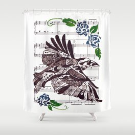 Quoth the Raven   (Raven and blue roses on sheet music) Shower Curtain