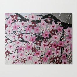 pink cherry blossom blossoms sakura girls nursery art pretty pinks white grey gray silver flowers Canvas Print