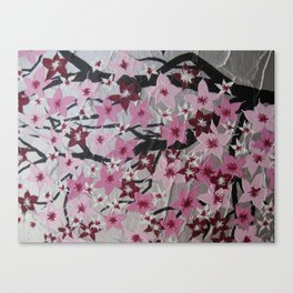 pink cherry blossom blossoms sakura girls nursery art pretty pinks white grey gray silver flowers Canvas Print
