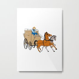 Stagecoach Driver Horse Cartoon Metal Print
