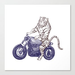 Tiger on a Motorcycle Canvas Print