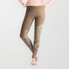 Modern white hand drawn floral illustration on rustic beige faux kraft color block Leggings