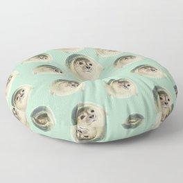 aqua green underwater cute baby sea lion seal Floor Pillow