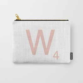 Pink Scrabble Letter W - Scrabble Tile Art and Accessories Carry-All Pouch
