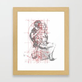 Couple in Red Lines. Sweet Fantasy. Framed Art Print