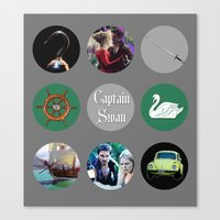 captain swan Canvas Prints featuring Captain Swan by Your Friend Elle