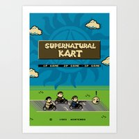 mario kart Art Prints featuring Supernatural Kart by Byway