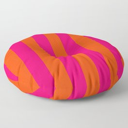 Bright Neon Pink and Orange Vertical Cabana Tent Stripes Floor Pillow