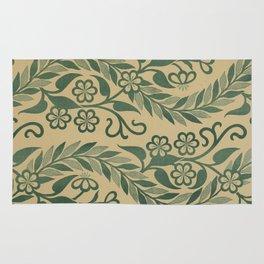 Light Green Leafy Vines Design Rug