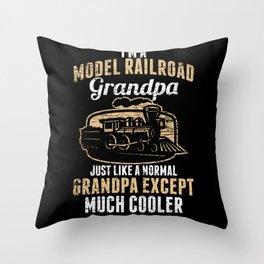 Model Building Railway Grandfather Throw Pillow