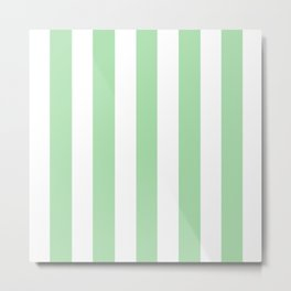 Celadon green - solid color - white vertical lines pattern Metal Print