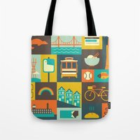san francisco Tote Bags featuring San Francisco by Ariel Wilson