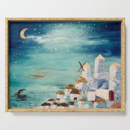 Moonlit Santorini Serving Tray