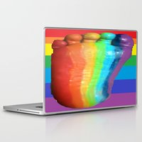 duvet cover Laptop & iPad Skins featuring RAINBOW COLORS DUVET COVER by aztosaha