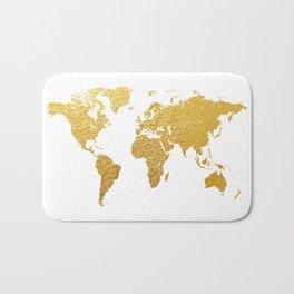 World Map Gold Foil Bath Mat