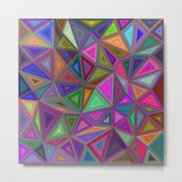 Multicolored chaotic triangles Metal Print