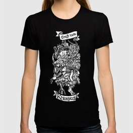 Season's Beatings - Krampus - Lino Print T-shirt