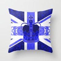 british flag Throw Pillows featuring Royal Blue - British Flag & Crown by Ornaart