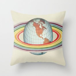 Psycho-harmonial philosophy - Peter Pearson - 1910  Rainbow Saturn Rings Around Earth Throw Pillow