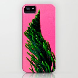 Green Plant on Pink Background iPhone Case