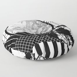 Eclectic Black And White - Black and White Abstract Patchwork Textured Design Floor Pillow