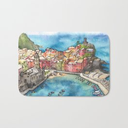 Cinque Terre ink & watercolor illustration Bath Mat