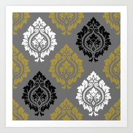 Decorative Damask Pattern BW Gray Gold Art Print