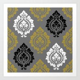 Decorative Damask Pattern BW Gray Gold Art Print