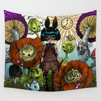 monster inc Wall Tapestries featuring Wonderland Inc by Li Boggs