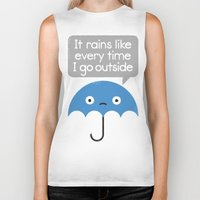 philosophy Biker Tanks featuring Umbrellativity by David Olenick