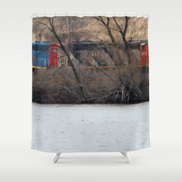 Train by River in late fall Shower Curtain