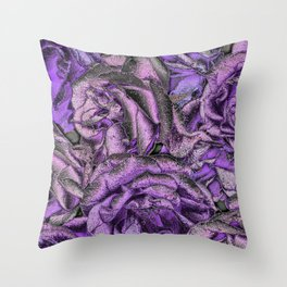 Great Garden Roses with silver dust Throw Pillow