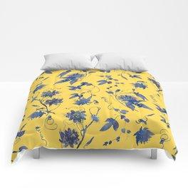 Elegant Blue Passion Flower on Mustard Yellow Comforters