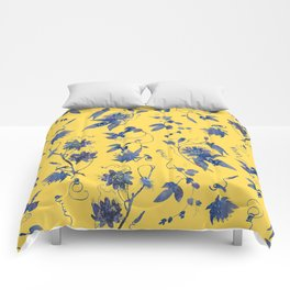 Elegant Blue Passion Flower on Mustard Yellow Comforters